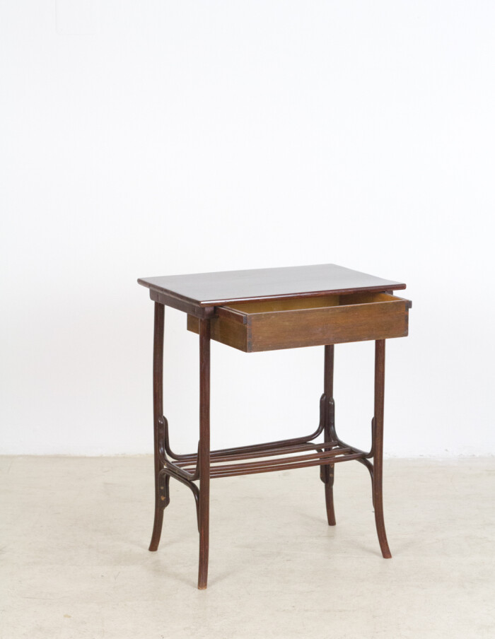 Restored Thonet Side Table with Draw-7