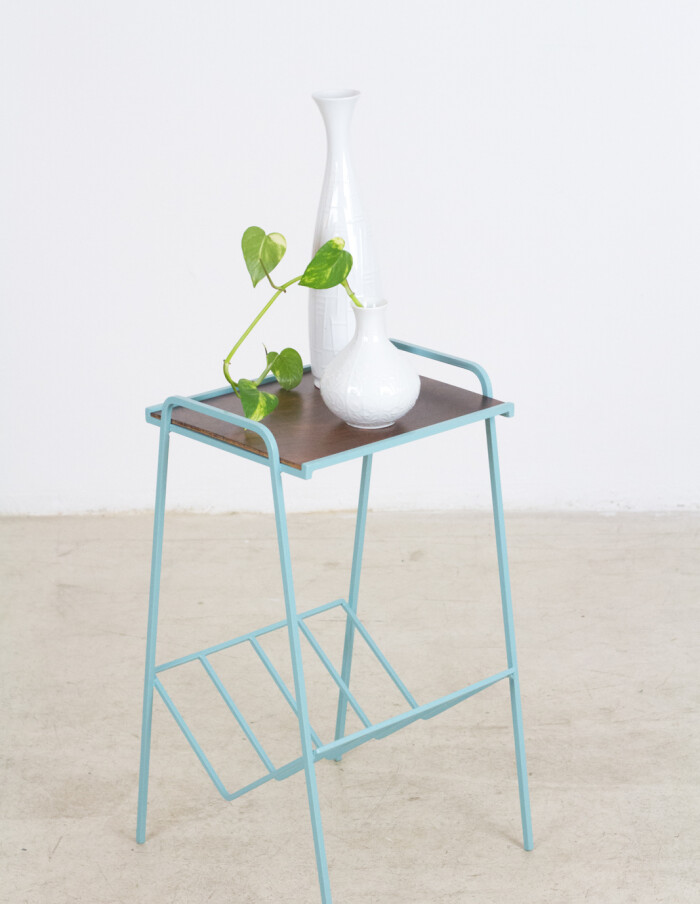 Restored Turquoise Side Table with Wooden Top, 1970's-9