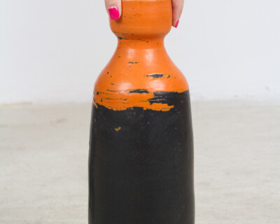 Very Rare Orange/Black Ceramic Vase by Lívia Gorka (Signed)