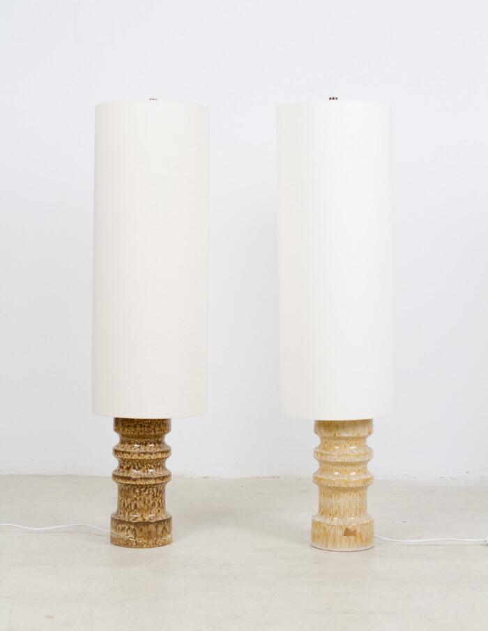 Artisan Ceramic Floor Lamp with New Shade, 1970's-1