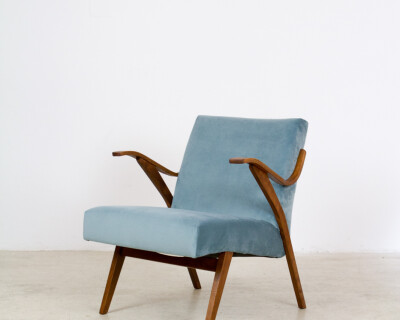 Beautifully Restored Tatra Armchair with New Duck Egg Blue Upholstery