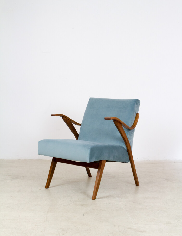 Beautifully Restored Tatra Armchair with New Duck Egg Blue Upholstery -1