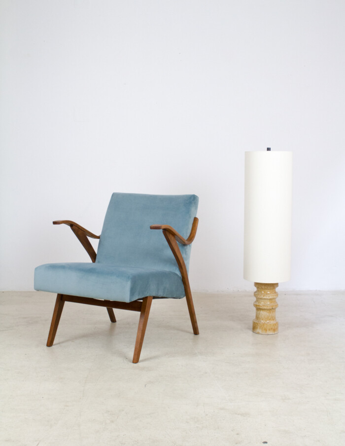 Beautifully Restored Tatra Armchair with New Duck Egg Blue Upholstery -8