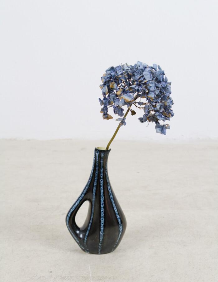 Black Ceramic Vase with Blue Stripes by Tófej -1