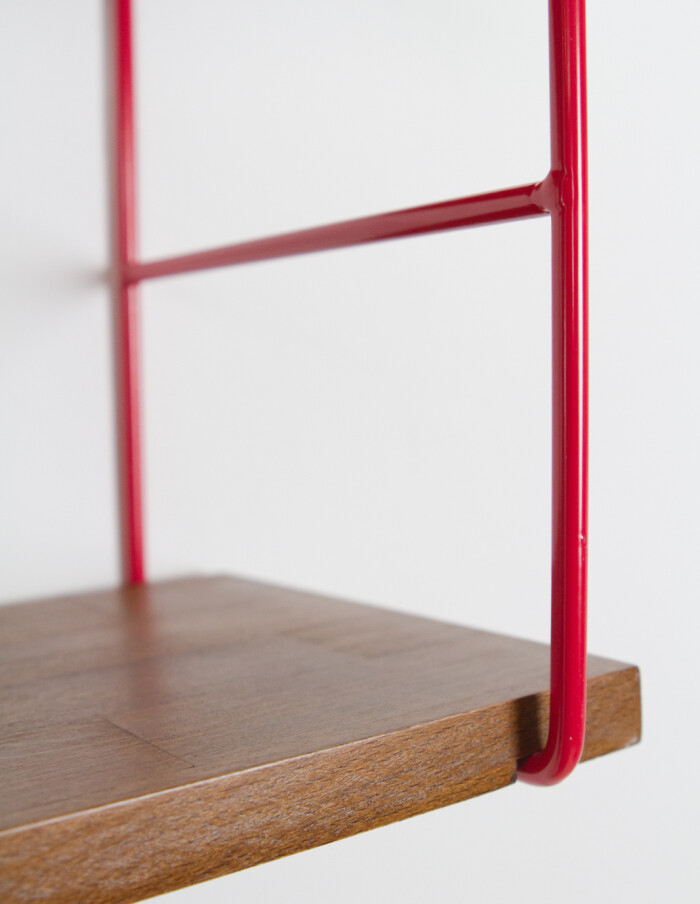 Cherry Red and Walnut Shelf Perfectly Restored -3