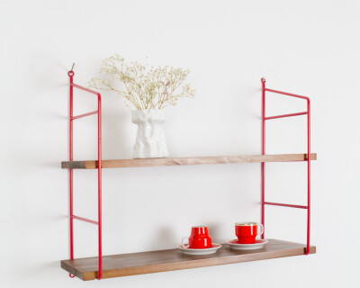 Cherry Red and Walnut Shelf Perfectly Restored