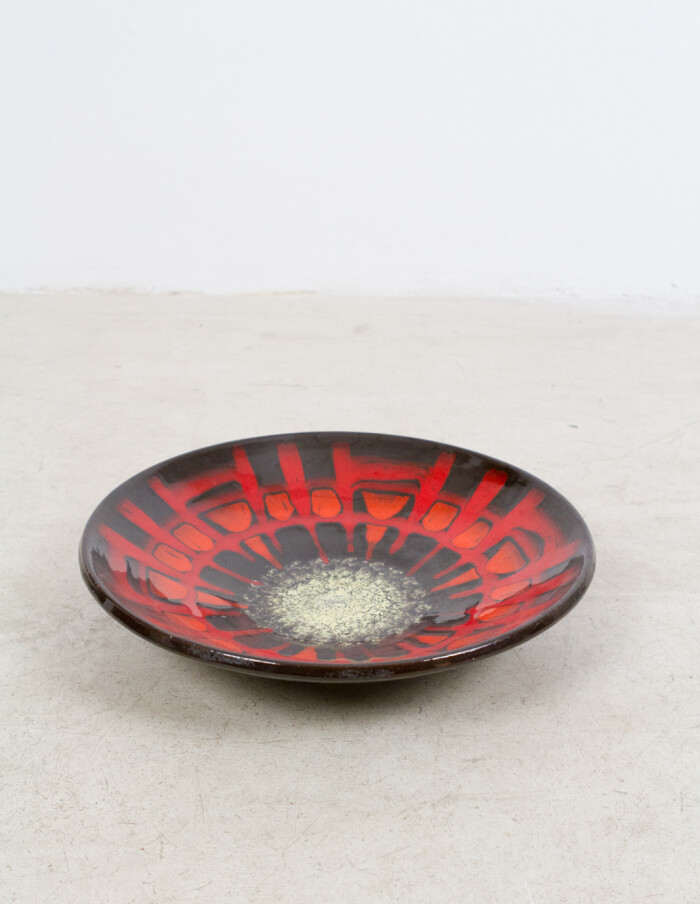 Large Black - Red Ceramic Plate (signed) -1