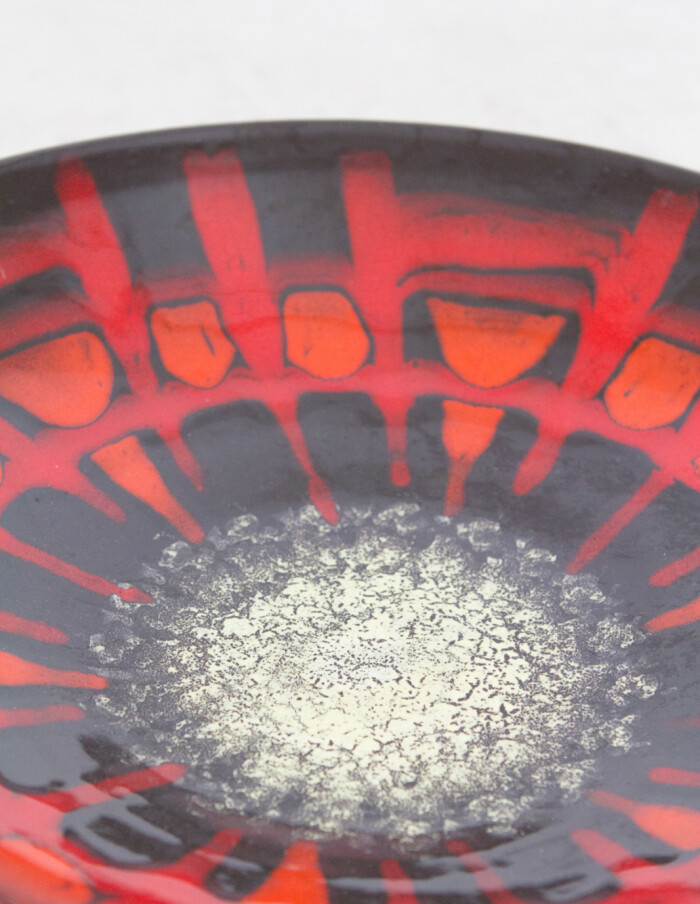 Large Black - Red Ceramic Plate (signed) -2