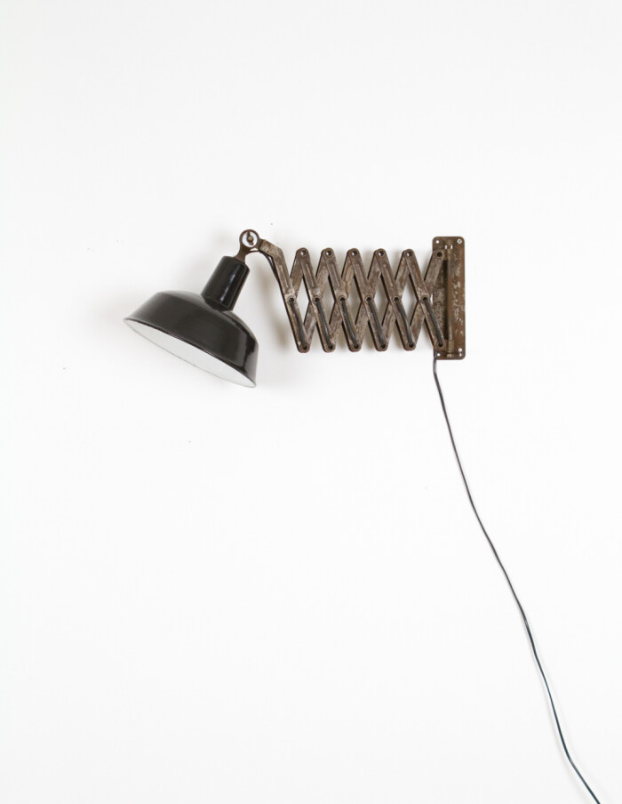 Large Industrial Scissor Wall Lamp with Original Enamelled Shade -1
