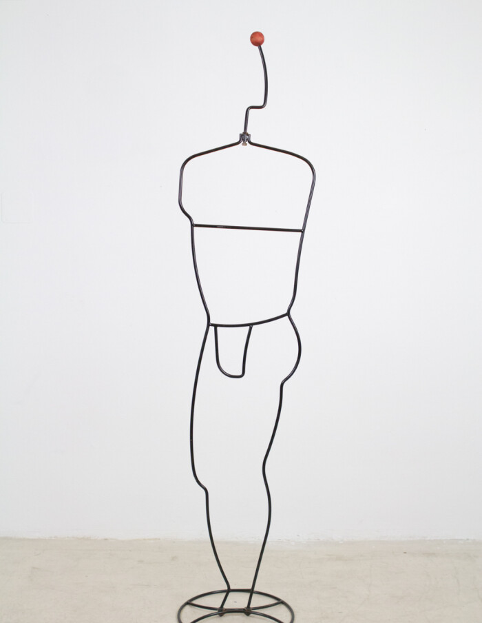 Male Shape Free-standing Metal Coathanger, 1970's-3