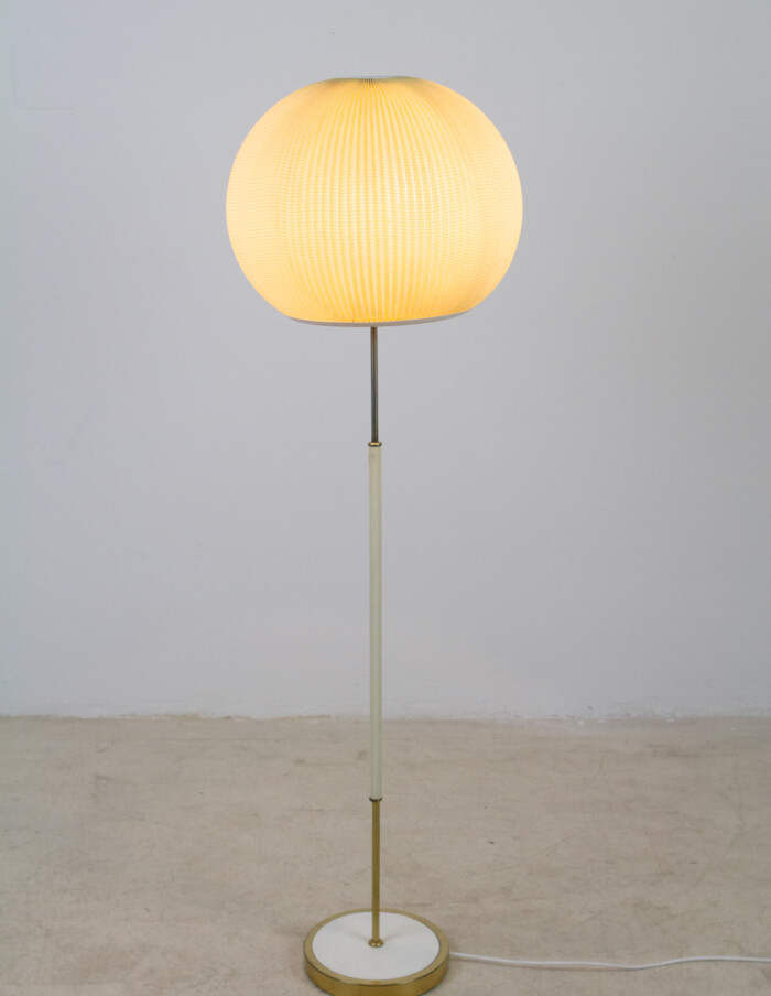 Pretty Floor Lamp with Copper Parts and Original Shade, 1950's-15