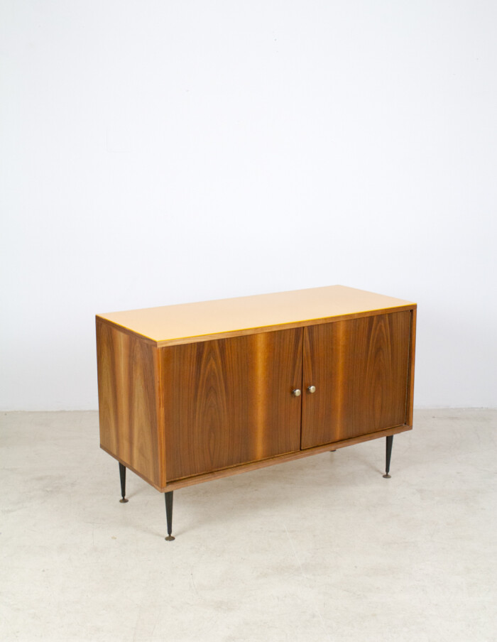 Restored Tatra Sideboard with Yellow Glass Top, 1960's-6