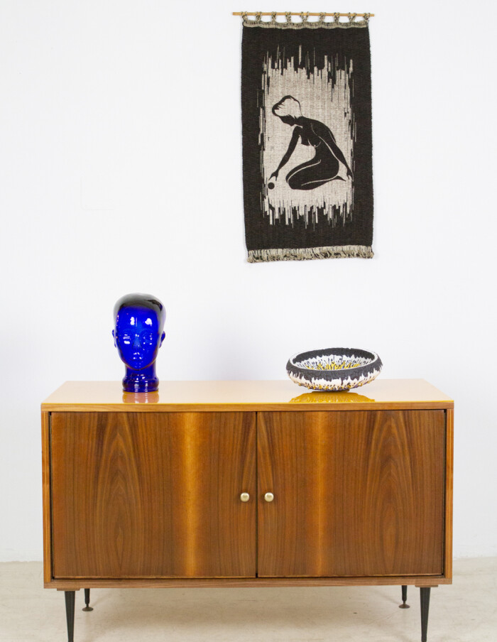 Restored Tatra Sideboard with Yellow Glass Top, 1960's-9