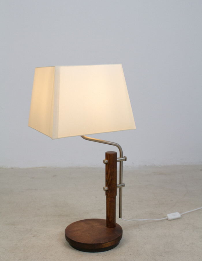 Restored Wooden Table Lamp with Chrome Parts and New Shade, 1970's-8