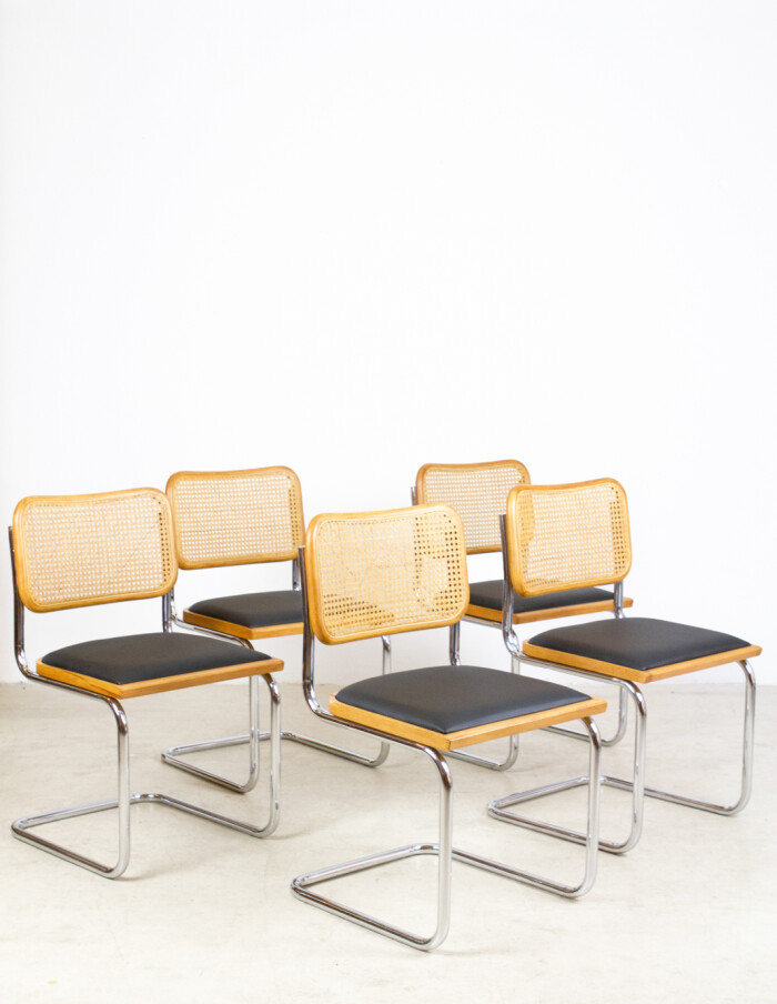 Set of 5 Restored Italian Cesca Chairs-3