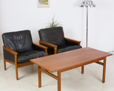 Set of Danish Teak Capella Lounge Chairs (2) and Coffee Table by Illum Wikkelso for Niels Eilersen, 1960's