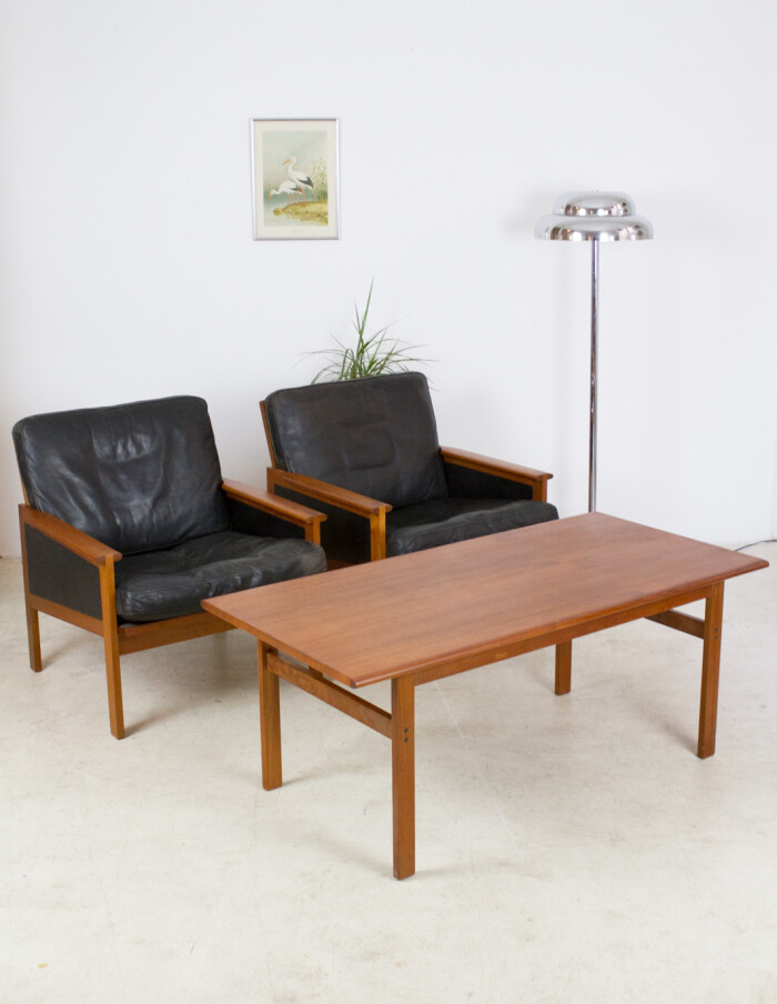 Set of Danish Teak Capella Lounge Chairs (2) and Coffee Table by Illum Wikkelso for Niels Eilersen, 1960's-26