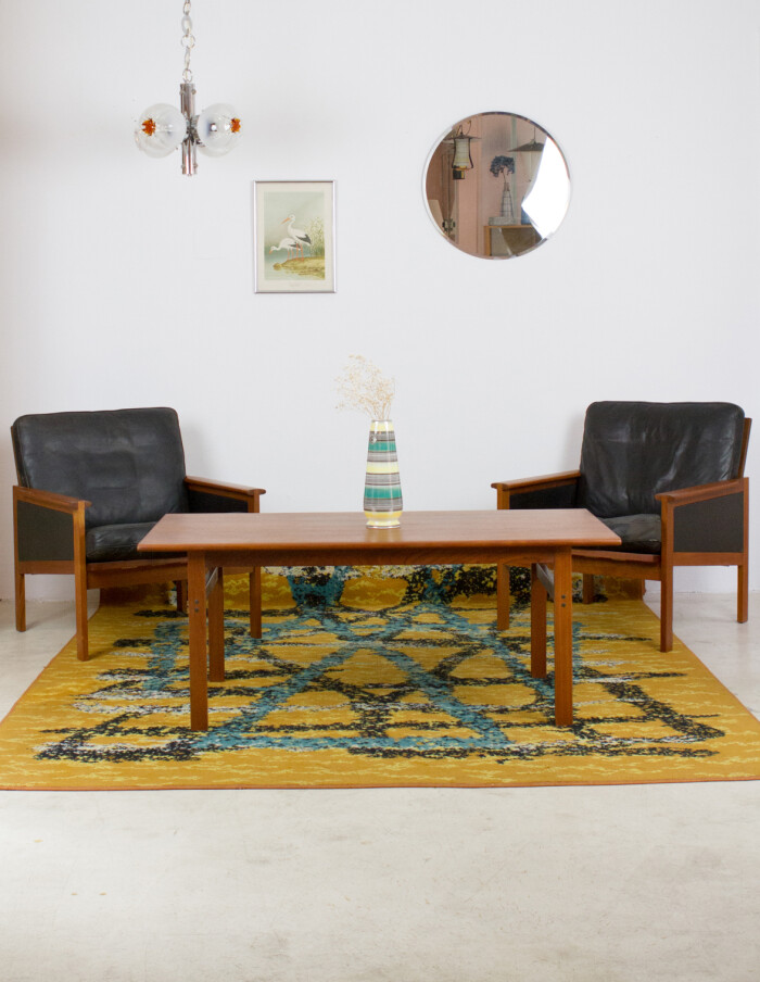 Set of Danish Teak Capella Lounge Chairs (2) and Coffee Table by Illum Wikkelso for Niels Eilersen, 1960's-4