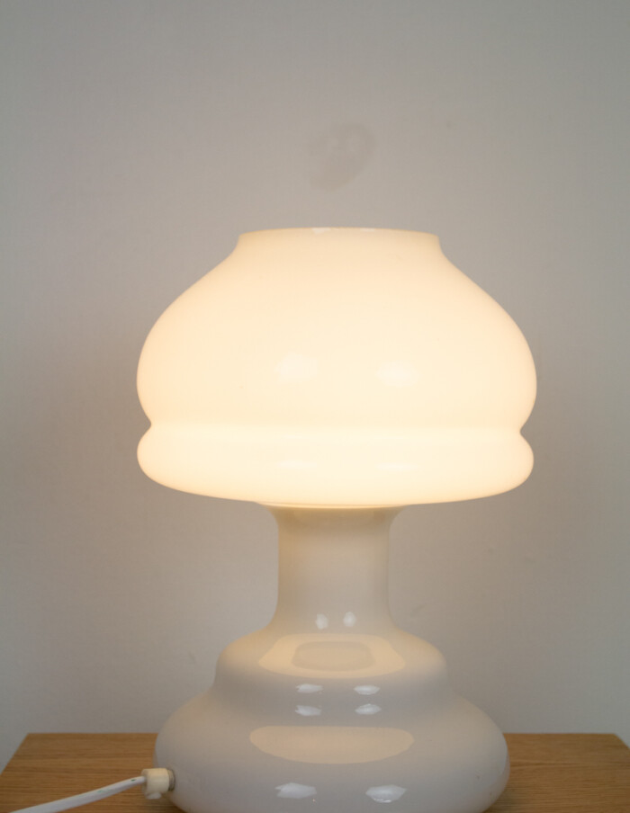 Artisan Milk Glass Table Lamp, 1970s -7