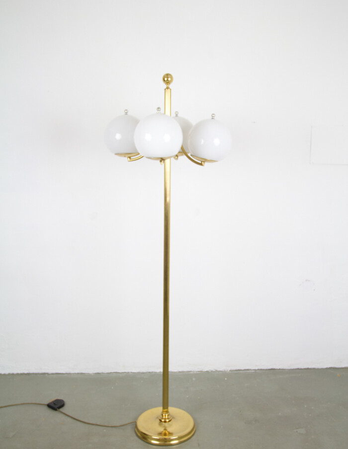 Beautiful Copper Floor Lamp with 4 Glass Milk Shades -1