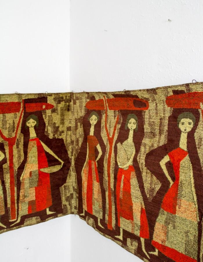 Extra Long Artisan Wall Carpet, 1960s -5