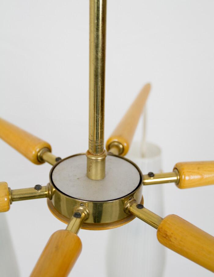 German Starbust Sputnik Chandelier with Copper Parts, 1950s -3
