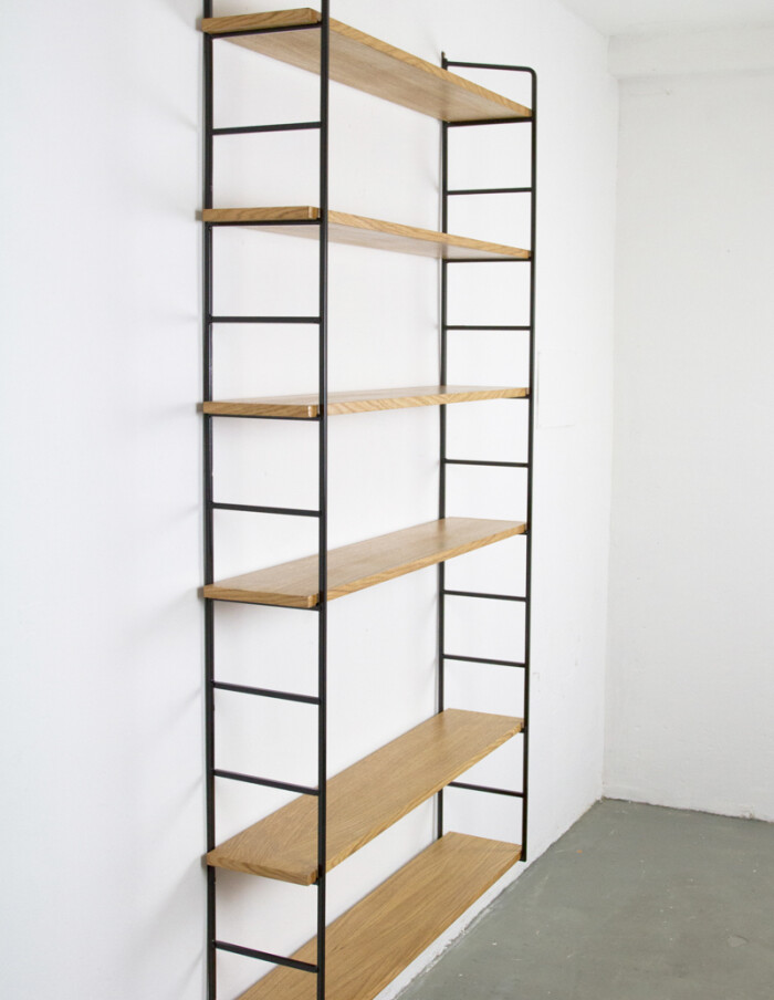 Large Size Black and Oak Panni Shelves Perfectly Restored -1
