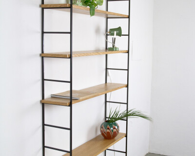 Large Size Black and Oak Panni Shelves Perfectly Restored