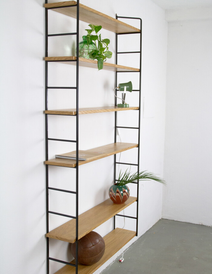 Large Size Black and Oak Panni Shelves Perfectly Restored -2