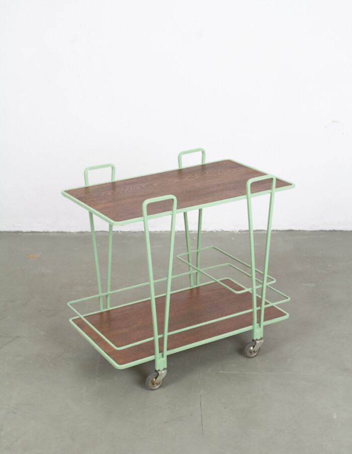 Mid- Centura Green rolling trolley with Wooden Top, 1970s -2