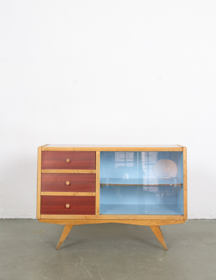 Mid-Century Small Sideboard with Blue Details in Original Condition -1
