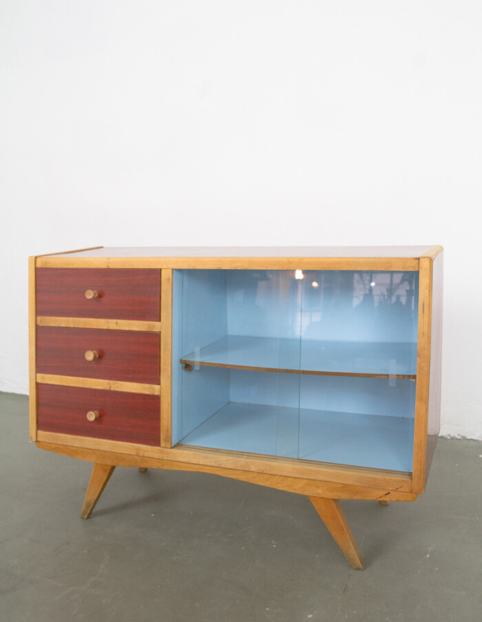 Mid-Century Small Sideboard with Blue Details in Original Condition -7