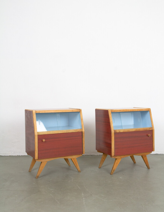 Pair of Lovely Bedside Tables with Blue Details in Original Condition -2