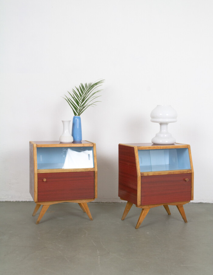 Pair of Lovely Bedside Tables with Blue Details in Original Condition -6