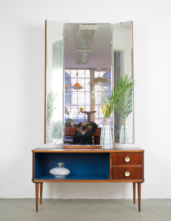 Restored Hallway Cabinet with Winged Mirrors-9