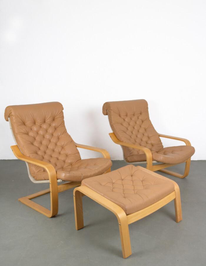 Set of 3 Original Leather Poem Lounge Chairs & Footrest by Noboru Nakamura, 1970s-1
