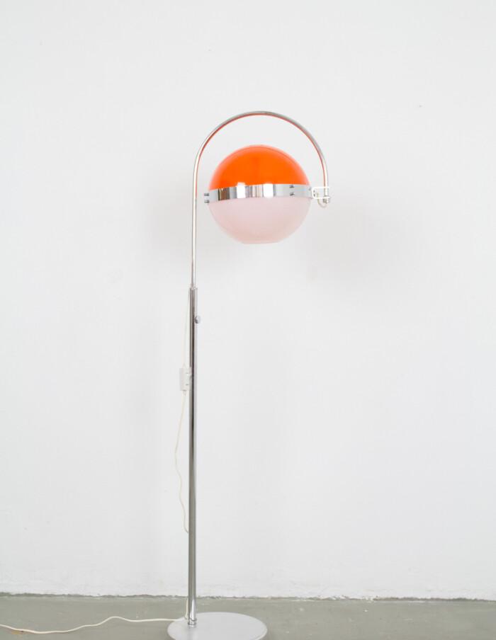 Space Age Orange & White Adjustable Floor Lamp, 1970s -1