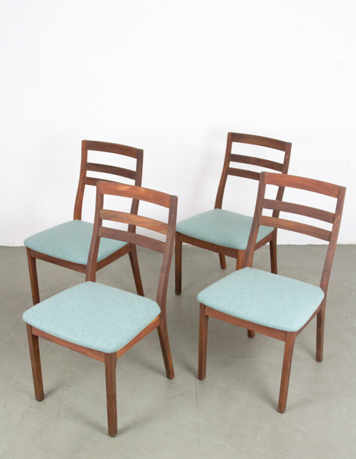 Teakwood Nathan Dining Chairs with Blue Upholstery -1