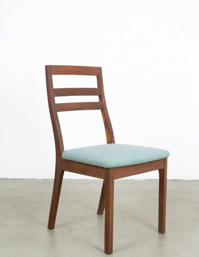Teakwood Nathan Dining Chairs with Blue Upholstery -5