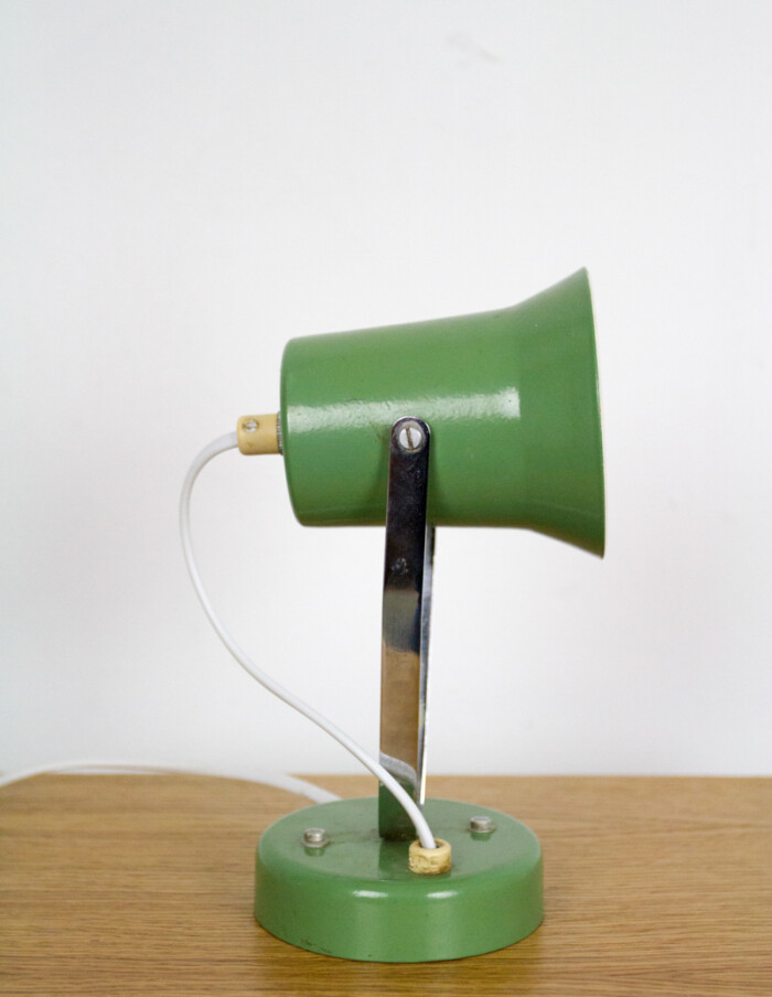 Tiny Pistachio Table Lamp with Chrome Parts, 1970s-1