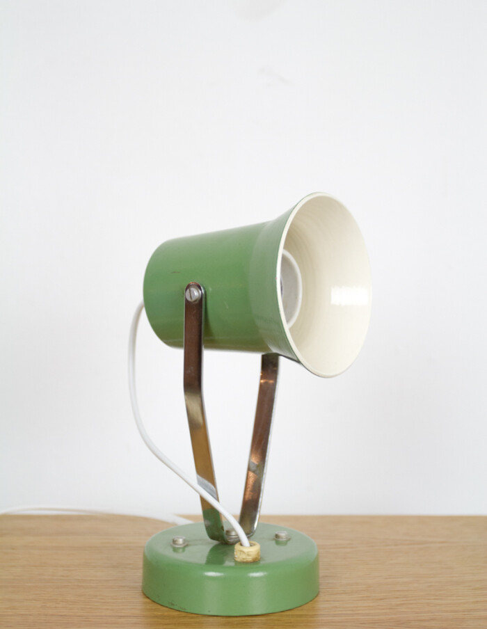 Tiny Pistachio Table Lamp with Chrome Parts, 1970s-2