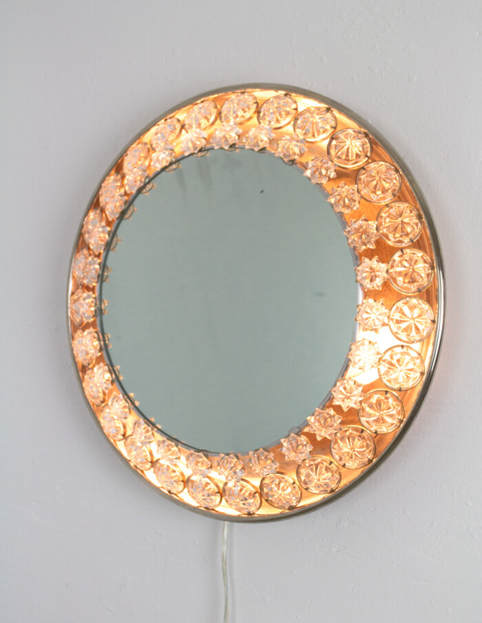 Wonderful Backlit Mirror with Chrytals by Palwa, 1960s-16