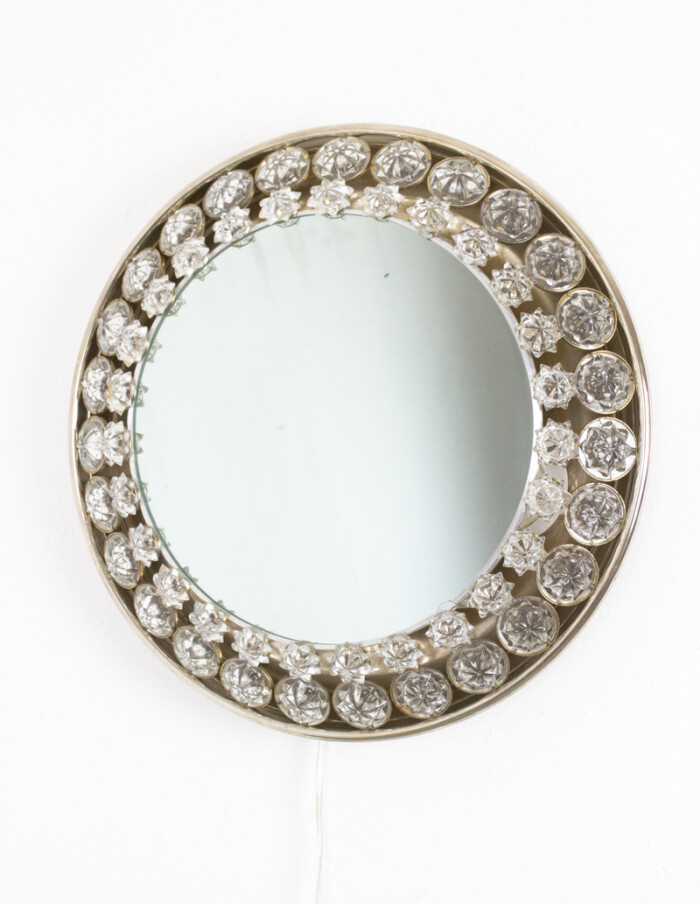 Wonderful Backlit Mirror with Chrytals by Palwa, 1960s-2