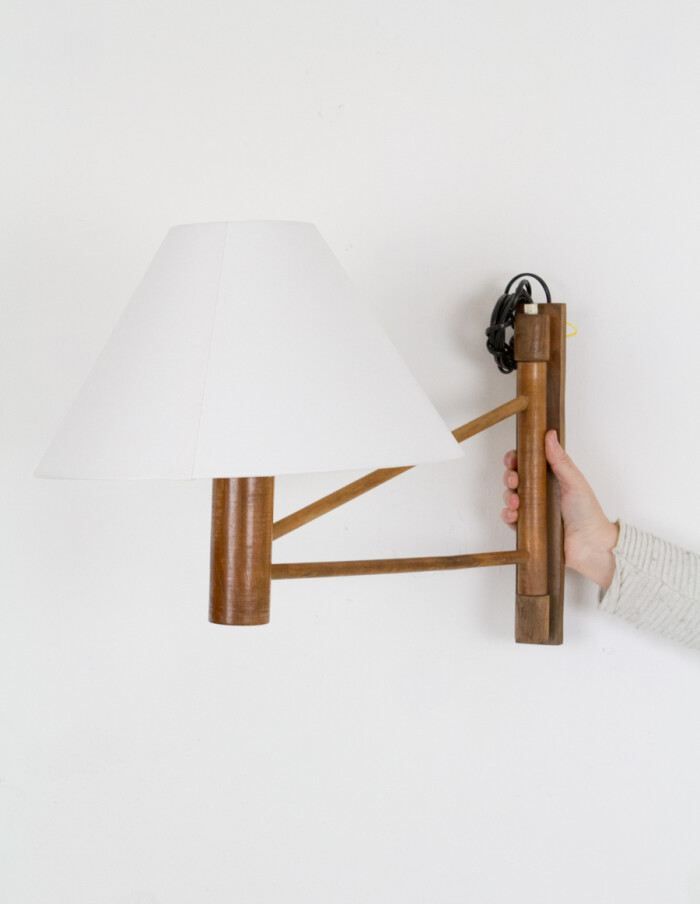 Artisan Wooden Wall Lamp with New Shade-1
