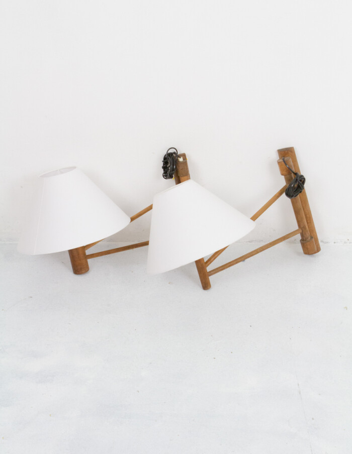 Artisan Wooden Wall Lamp with New Shade-7