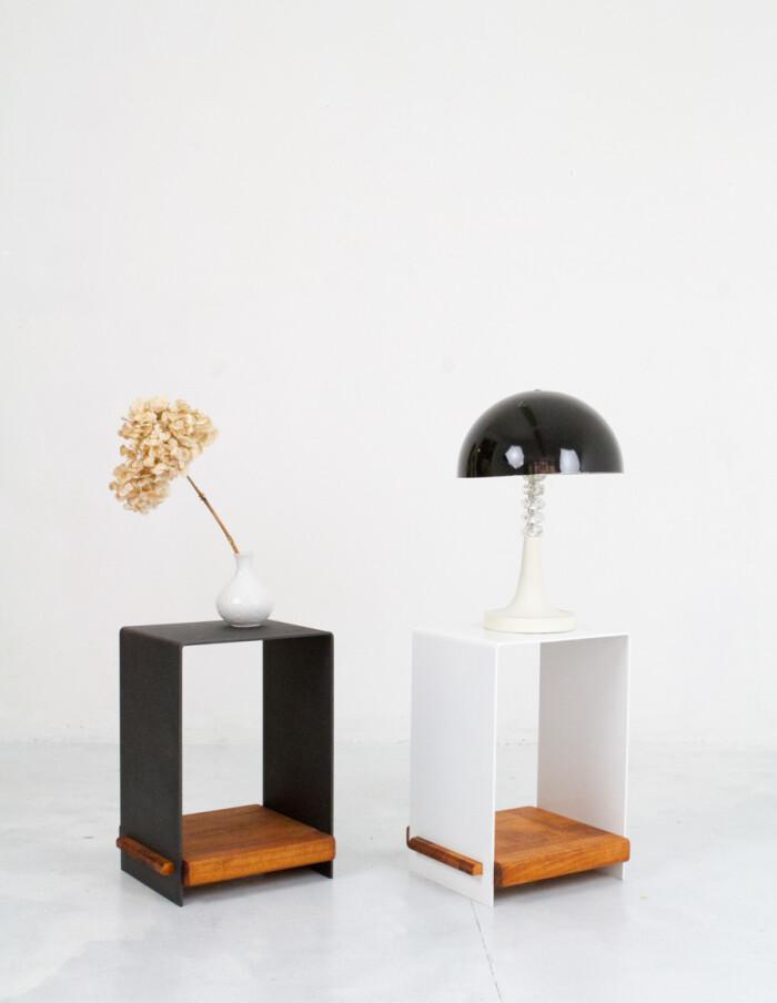 Beautiful Black Steel Side Table with Wooden Shelf -2