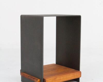 Beautiful Black Steel Side Table with Wooden Shelf