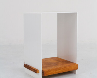 Beautiful White Steel Side Table with Wooden Shelf