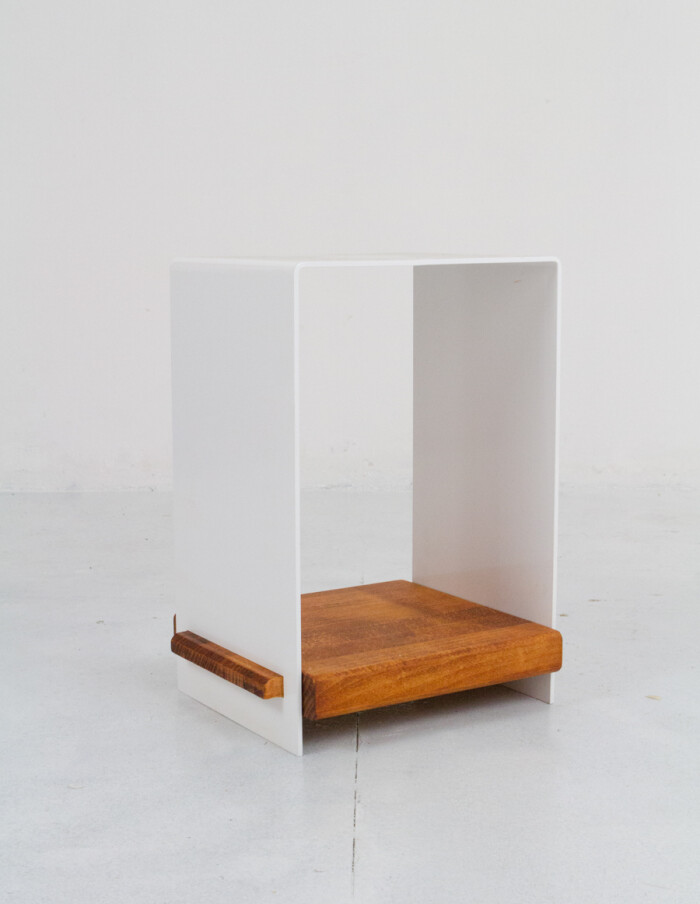 Beautiful White Steel Side Table with Wooden Shelf -5