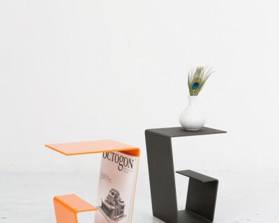 Cool Orange Steel Side Table / Plant Holder